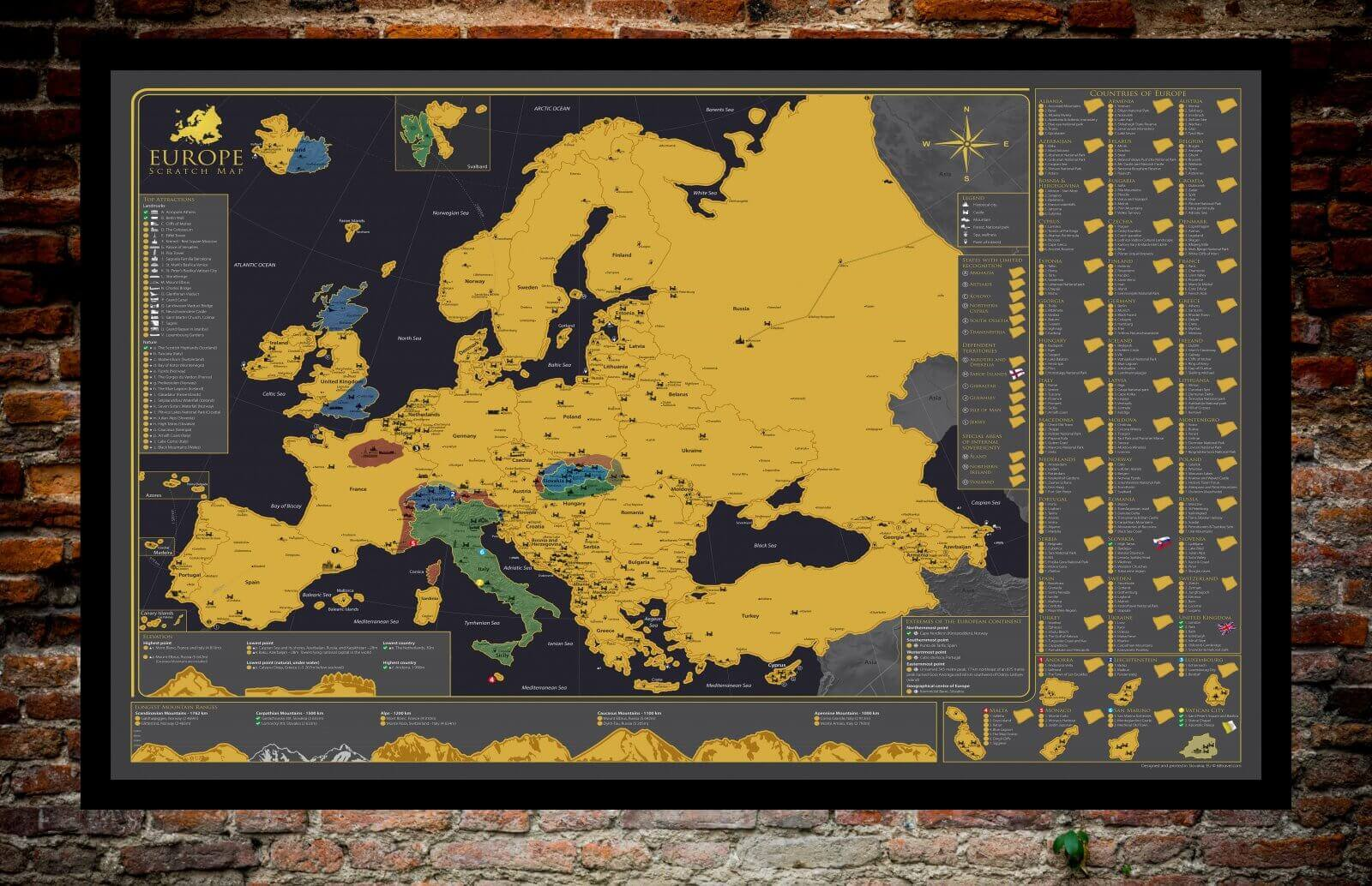 Scratch Map of Europe - shown with scratched away parts