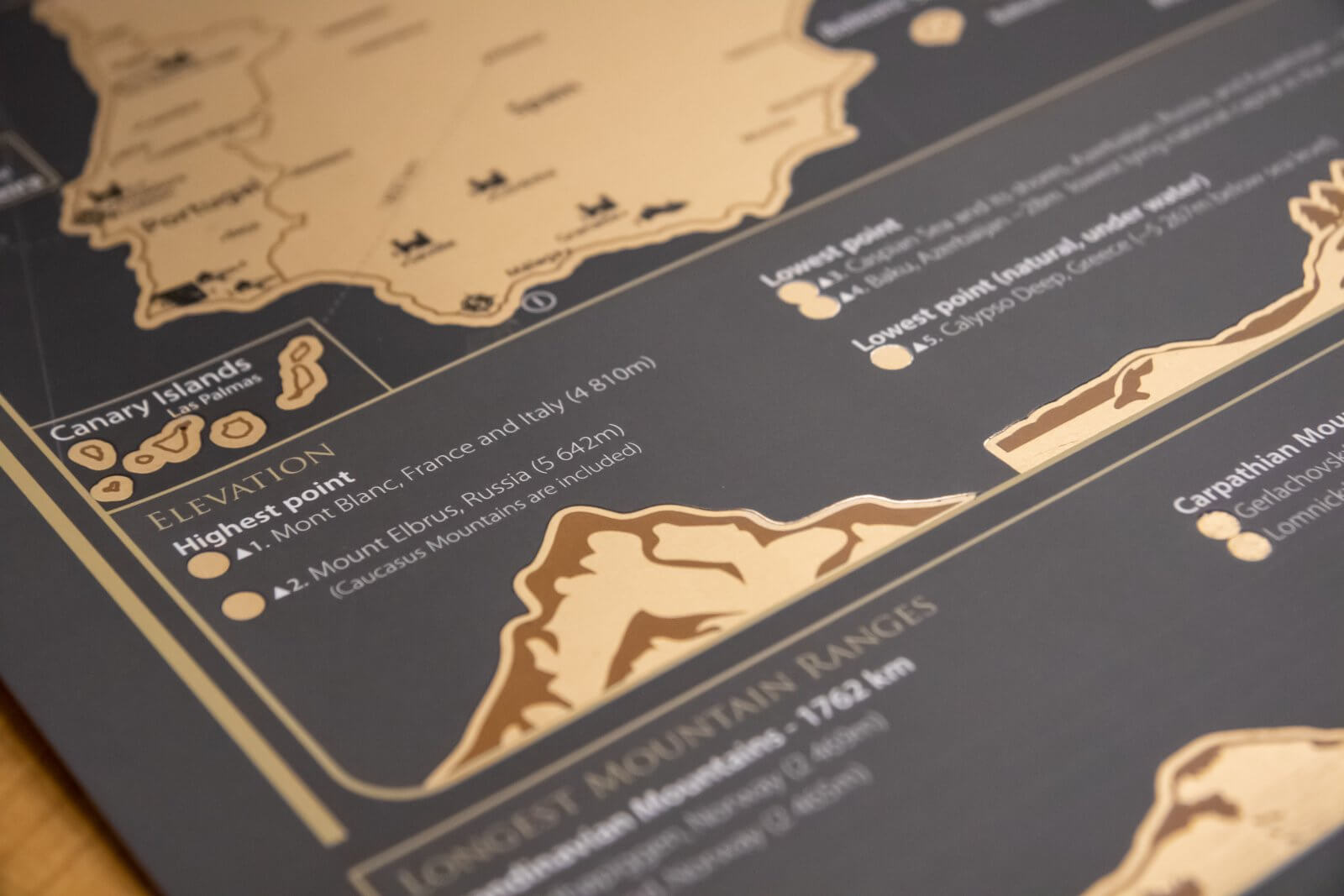 Scratch Map of Europe - Detail of elevation