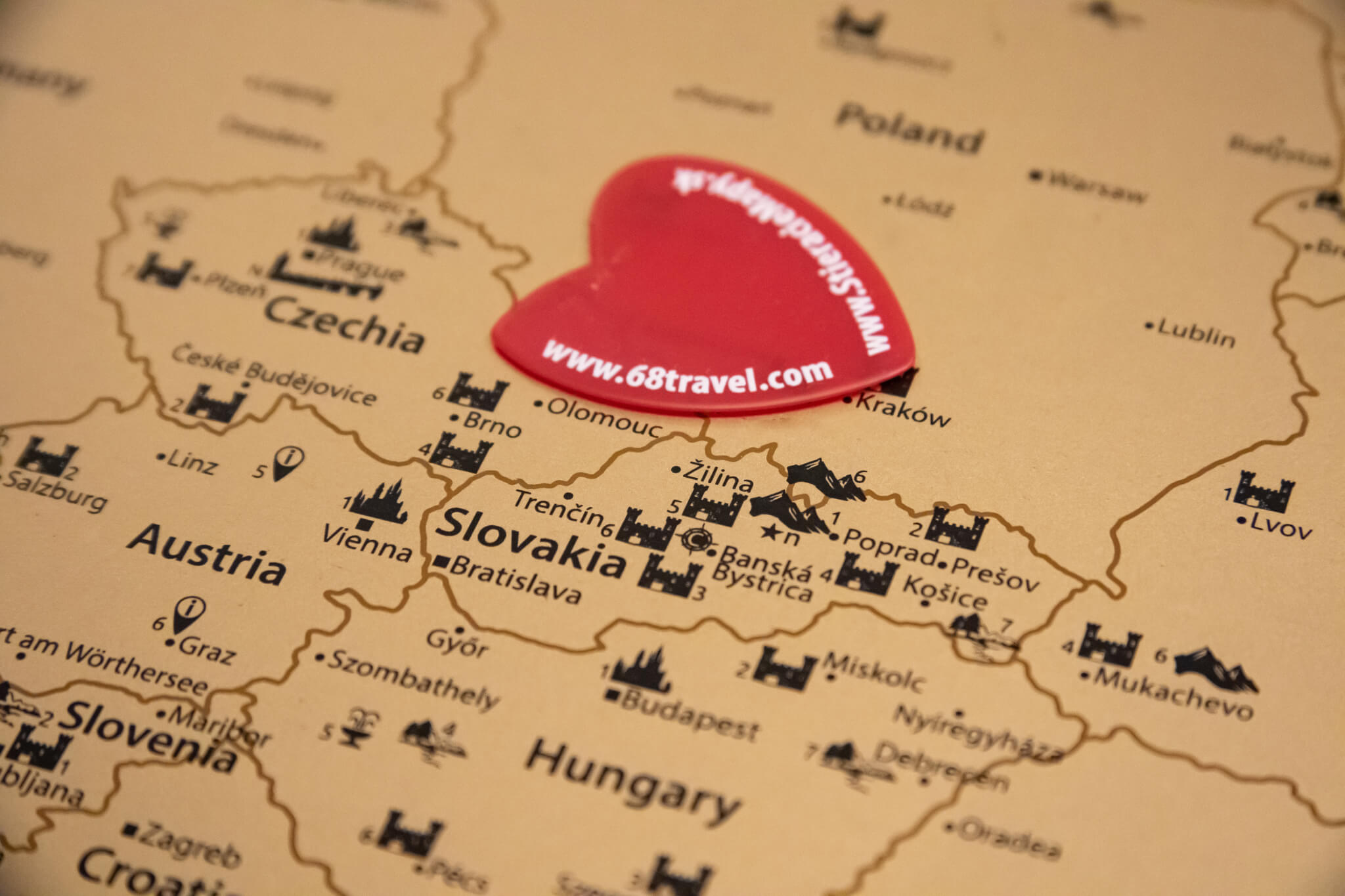 Scratch Map of Europe - Detail of scratcher in Central Europe