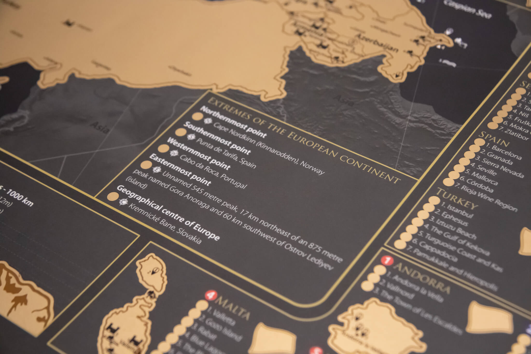 Scratch Map of Europe - Detail of extremes