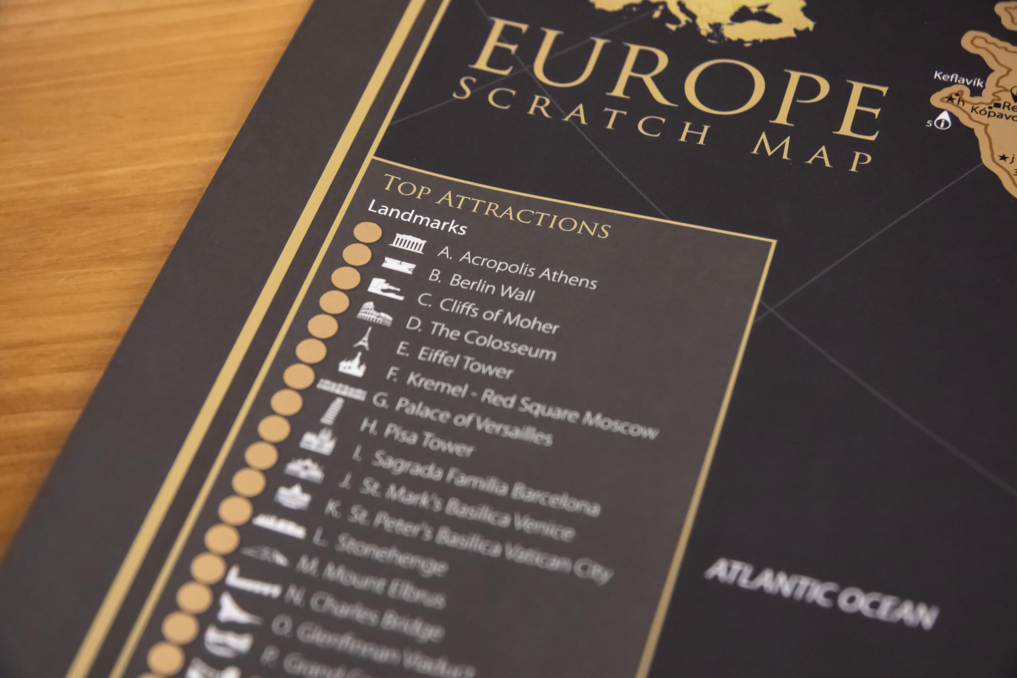 Scratch Map of Europe - Detail of Top Attractions
