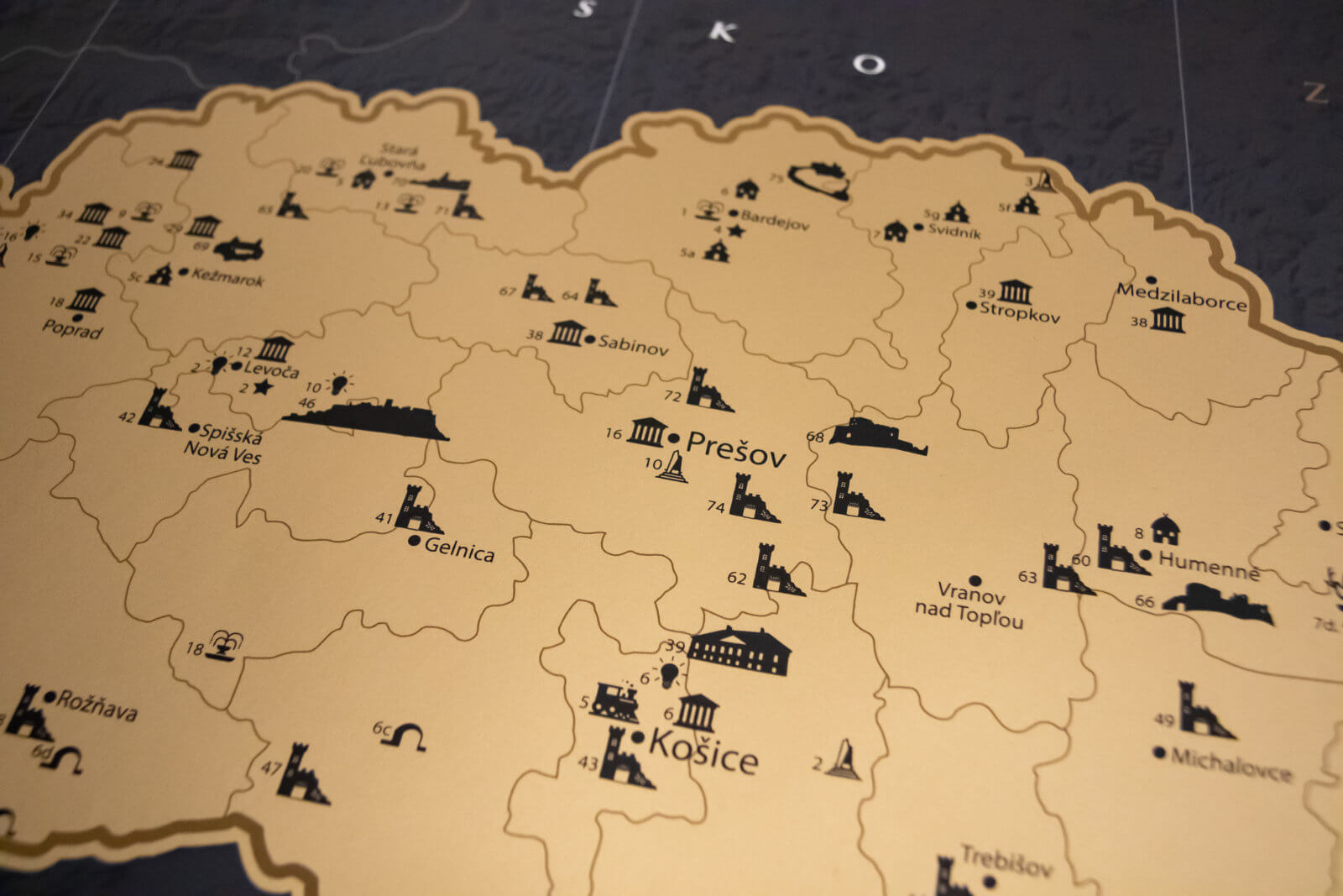 Scratch Map of Slovakia - Map detail