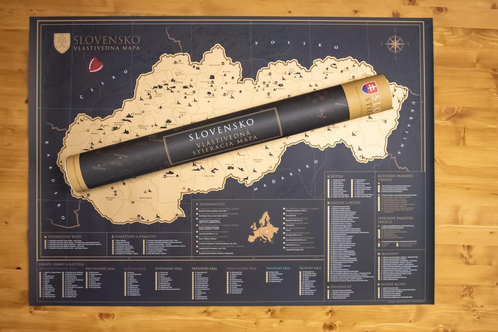 Scratch Map of Slovakia - Whole map with gift tube