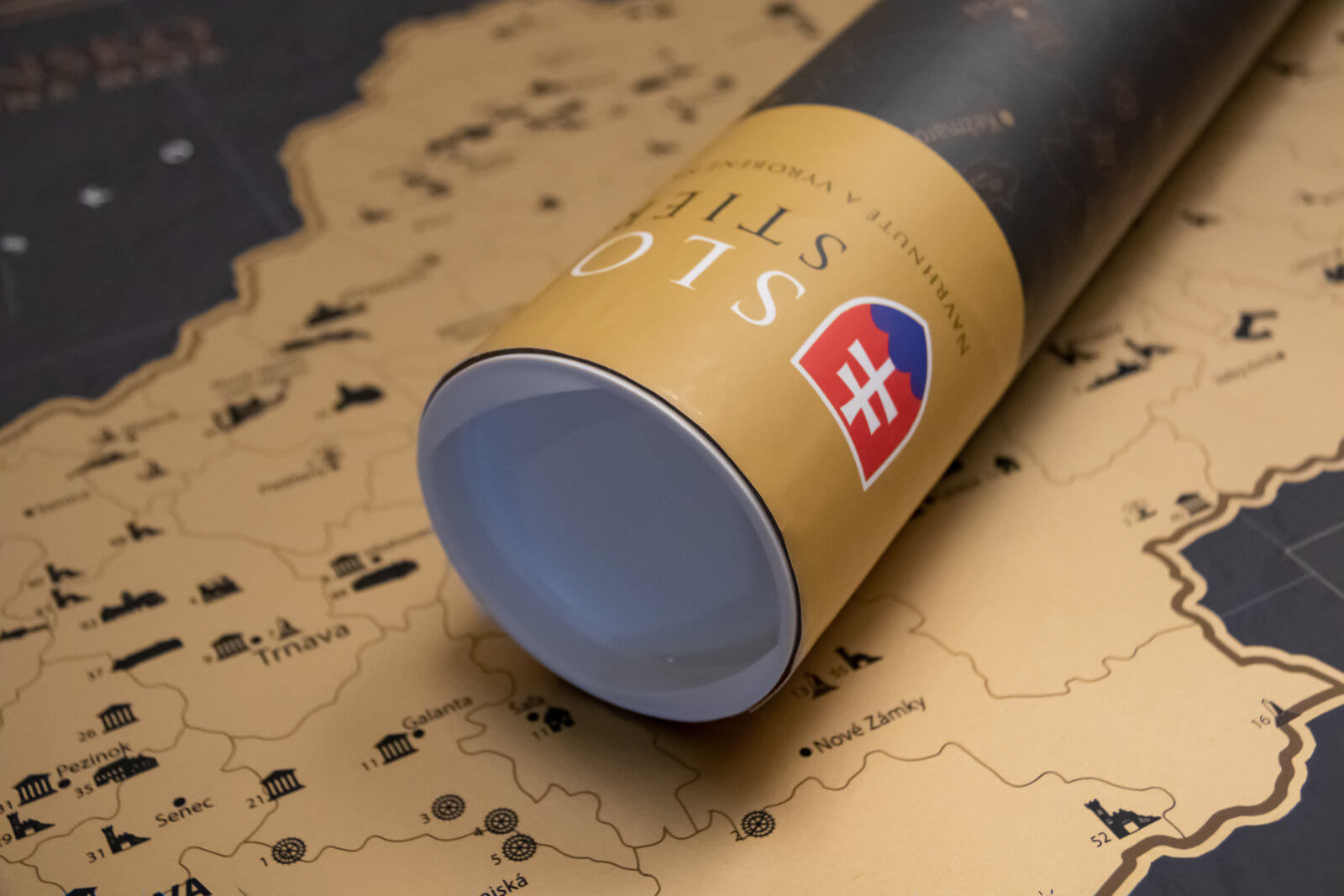 Scratch Map of Slovakia - Detail gift tube