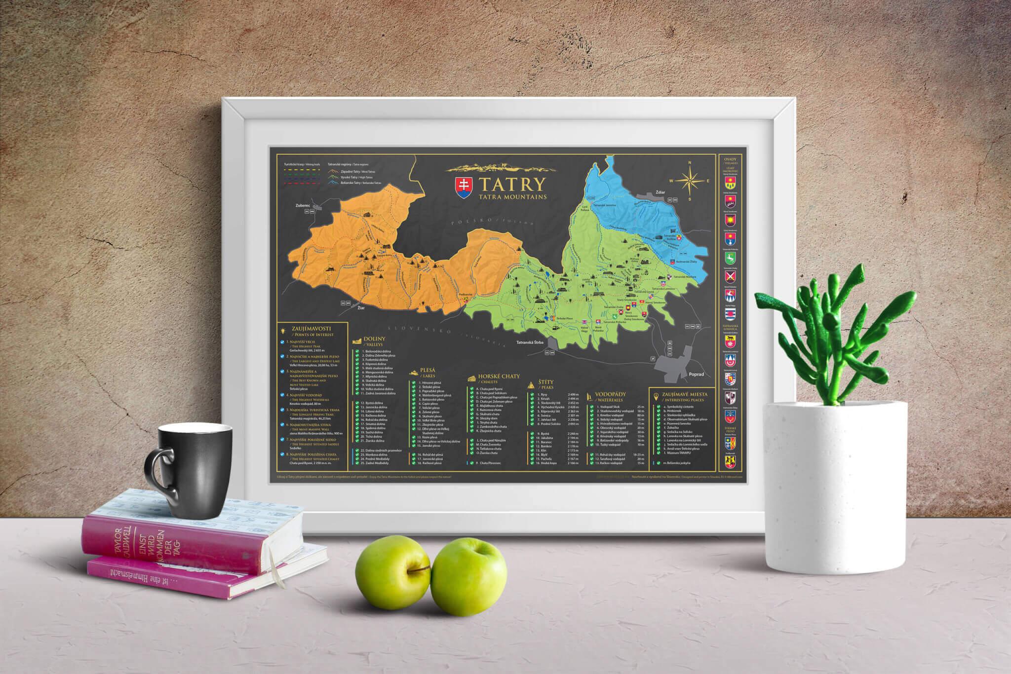 Scratch map of Tatra Mountains