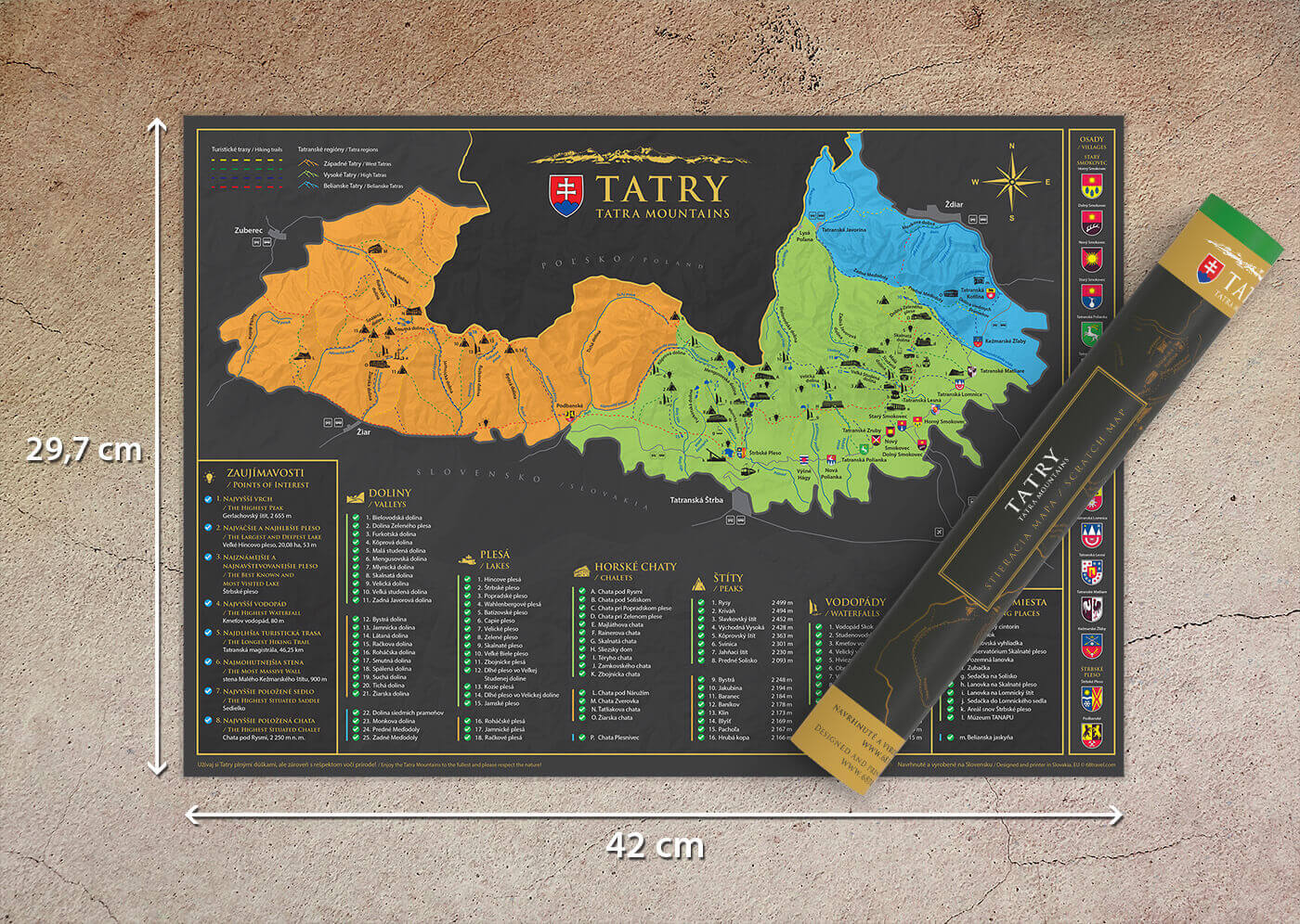 Scratch map of Tatra Mountains