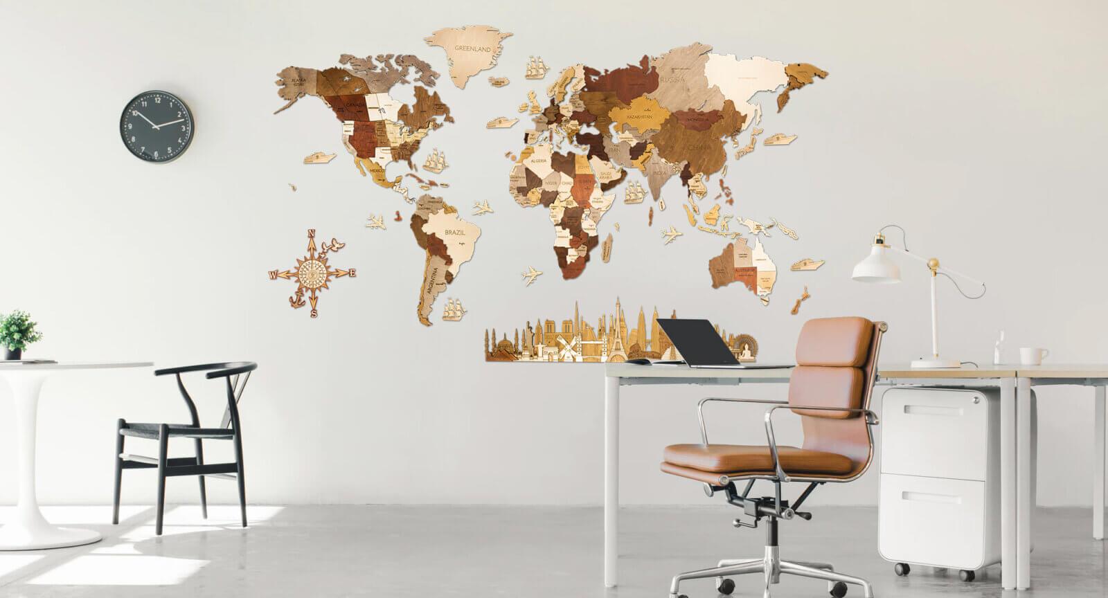 Wooden World Map - Interior
