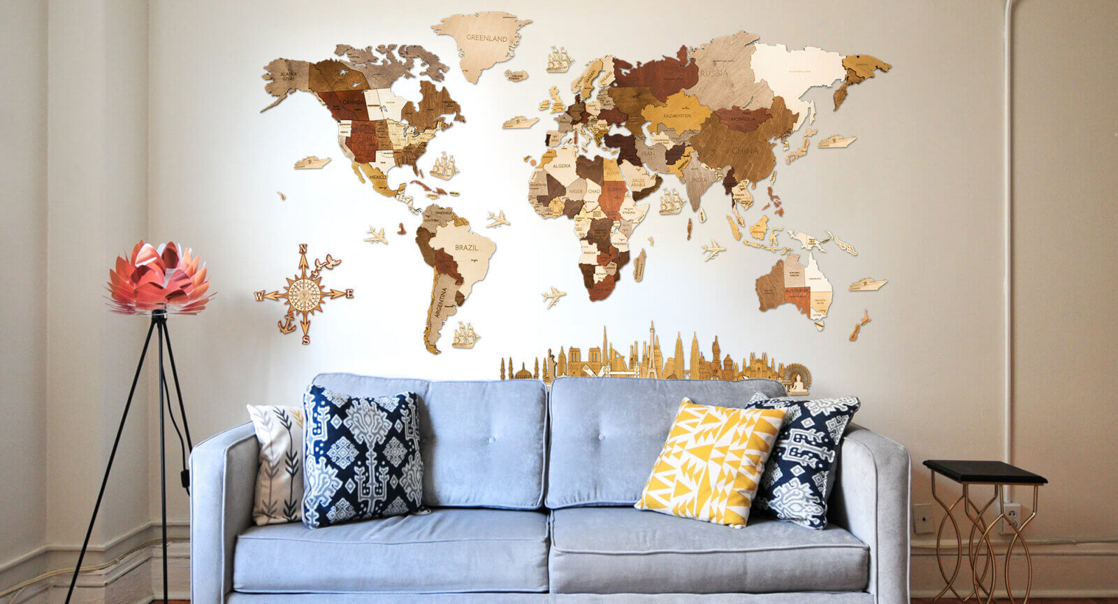 Wooden World Map - Interior with sofa