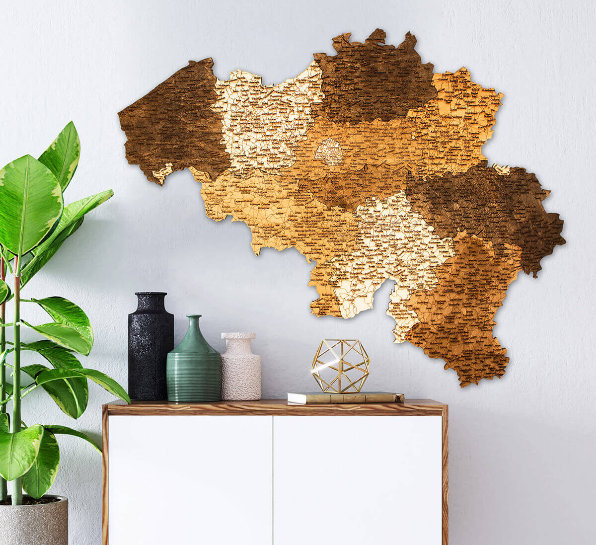 Wooden Map of Belgium