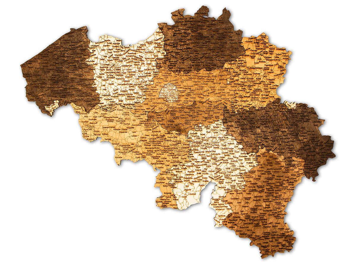 Wooden Map of Belgium