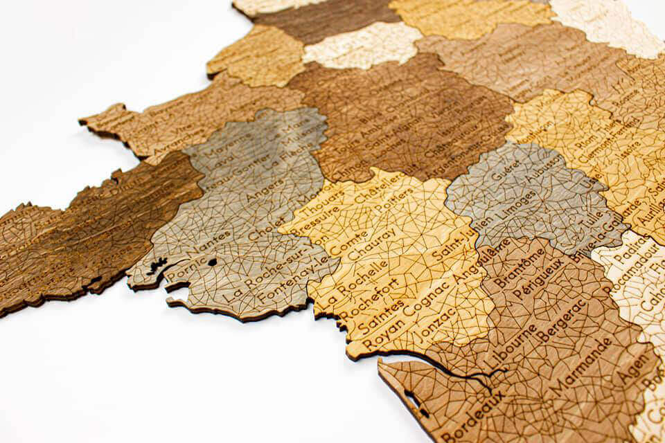 Wooden Map of France