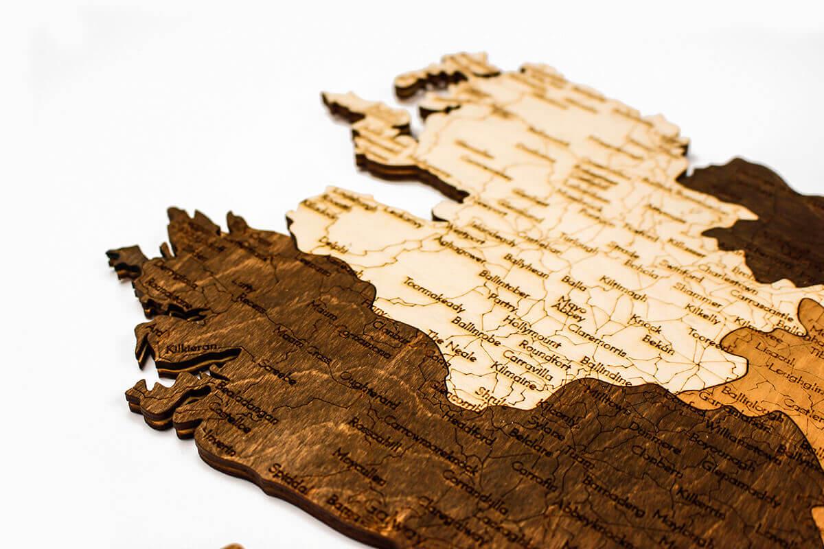 Wooden Map of Ireland