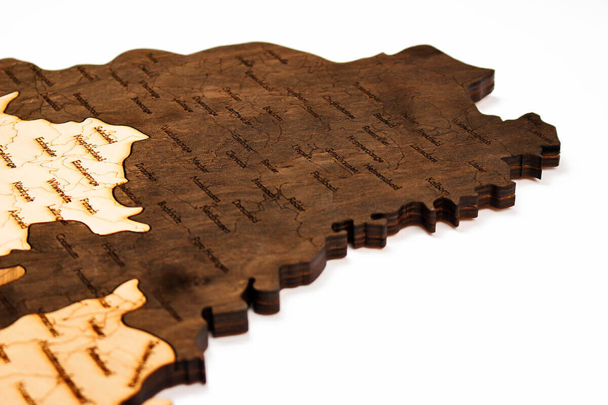Wooden Map of Luxemburg
