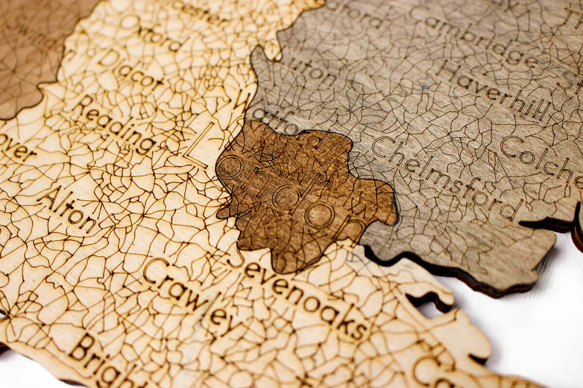 Wooden Map of United Kingdom