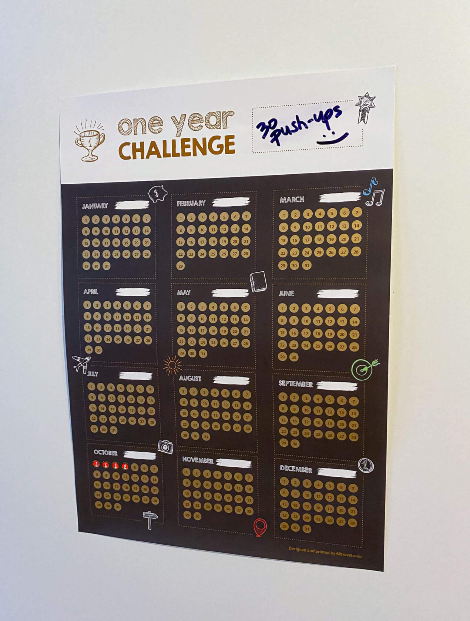 One Year Challenge Scratch Poster