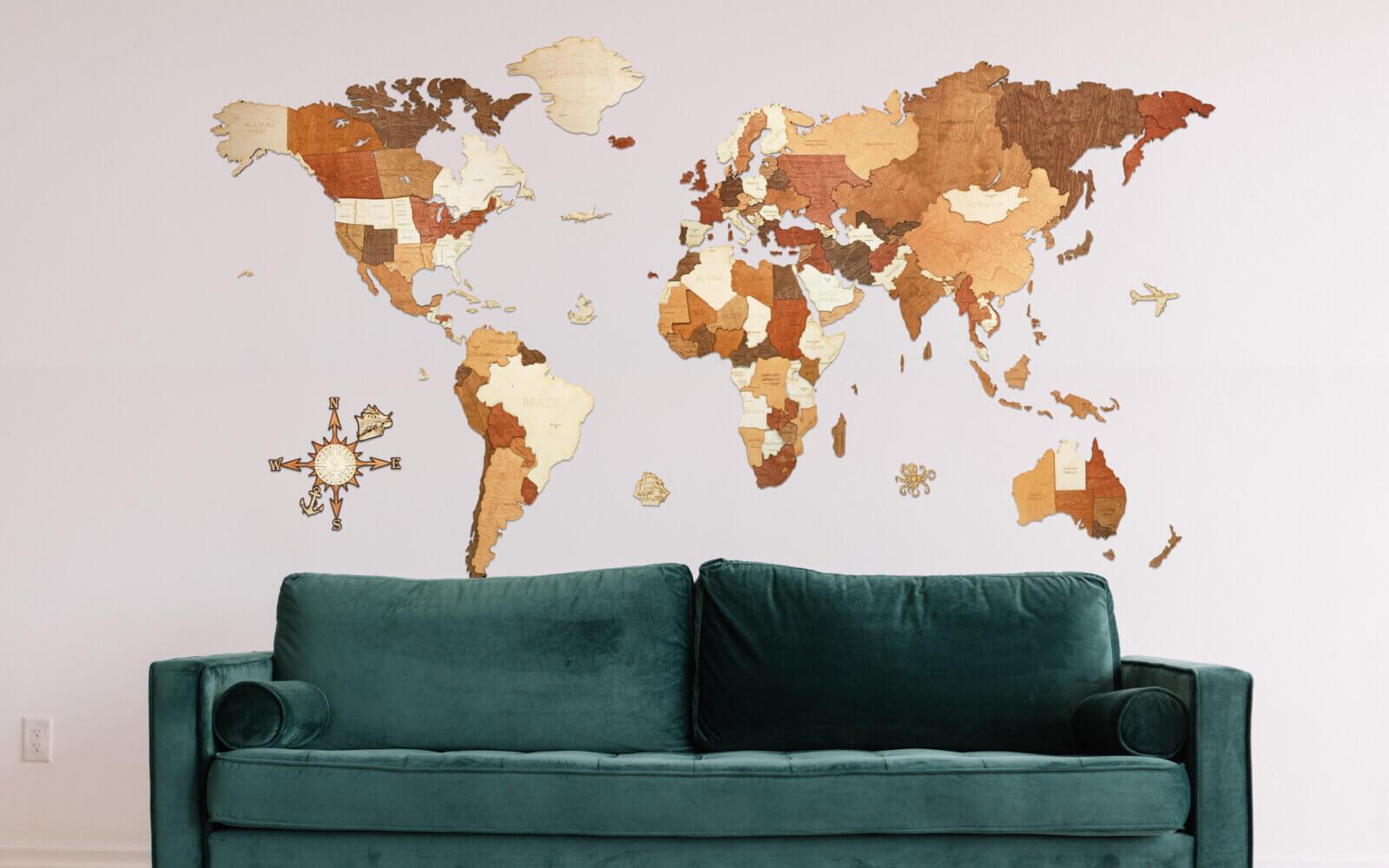 MEGA - Adventurer - wooden world map