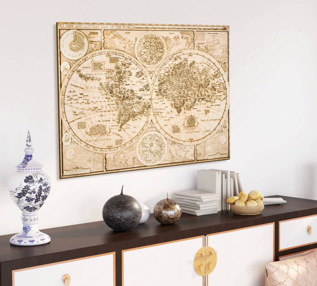Historical Wooden World Map - from 1626