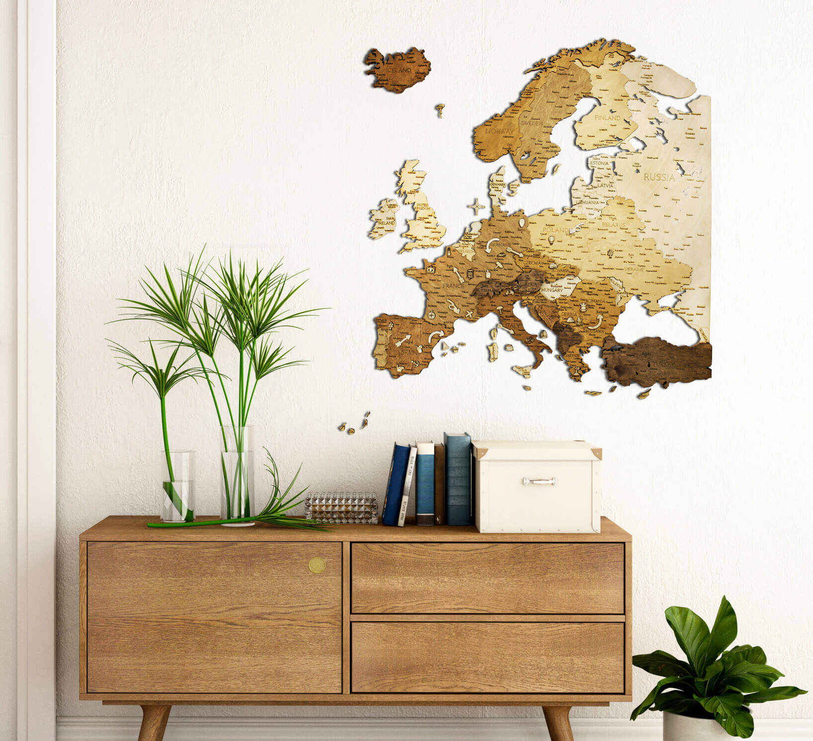 Wooden Map of Europe - wall decoration
