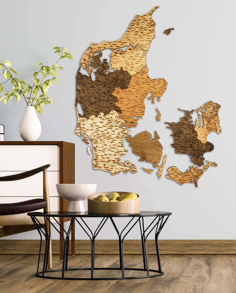 Wooden Map of Denmark