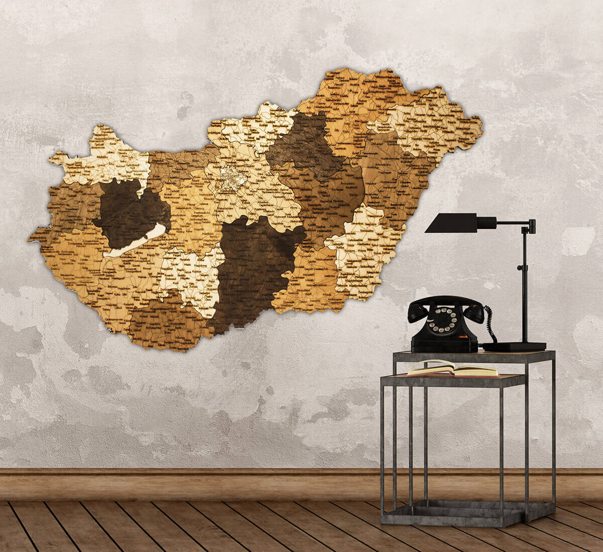 Wooden Map of Hungary
