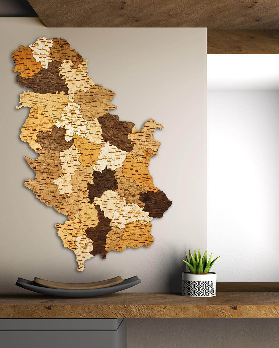 Wooden Map of Serbia