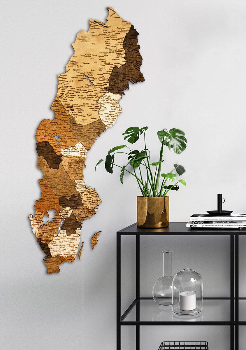 Wooden Map of Sweden