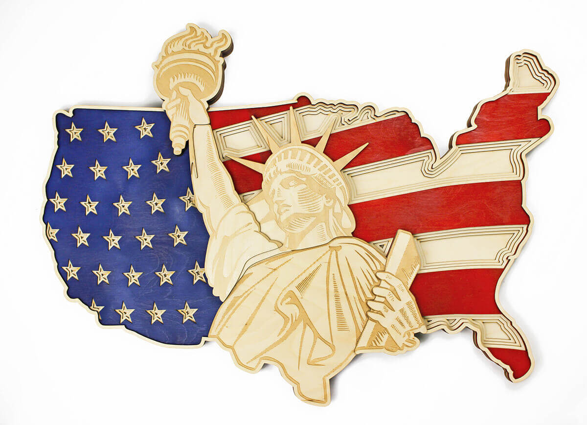 Statue of Liberty and US map