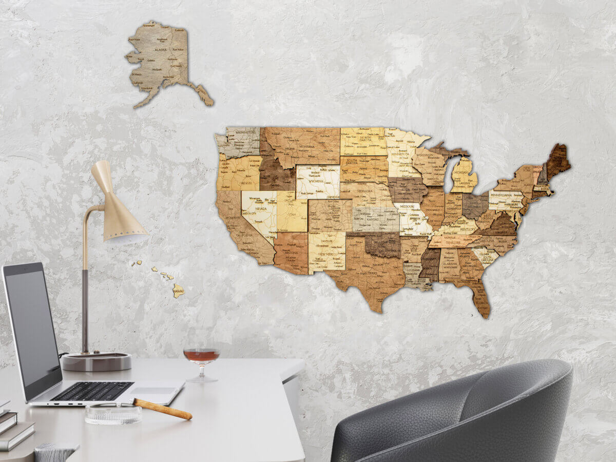 Wooden map of United States